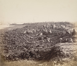 Reclamation, Mody Bay, No. 1 jetty from north [Victoria Dock construction, Bombay].